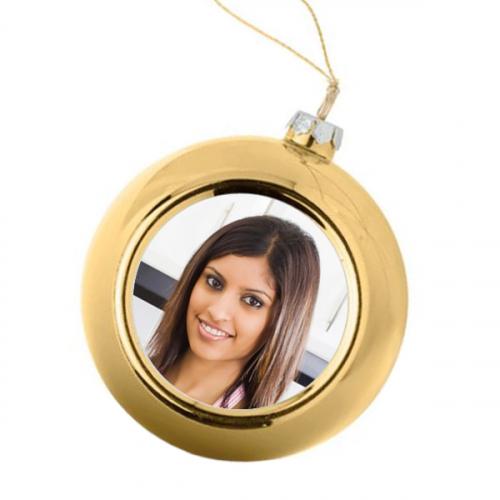 Boule de Noël photo dorée