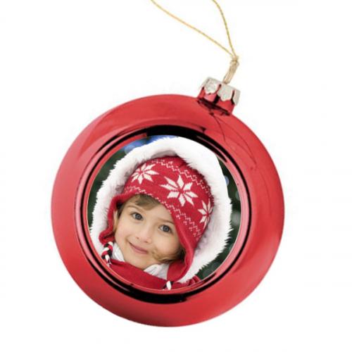 Boule de Noël rouge personnalisée avec une photo