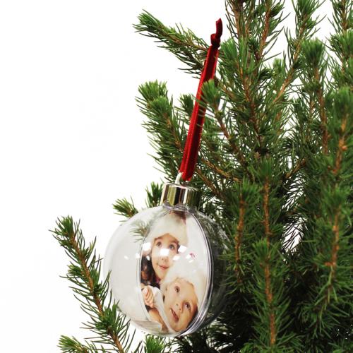 Boule de Noël photo transparente personnalisée
