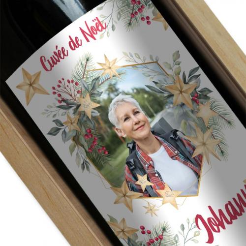 Bouteille de vin Cadre photo de Noël