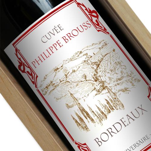 Bouteille de vin personnalisé bordeaux rouge