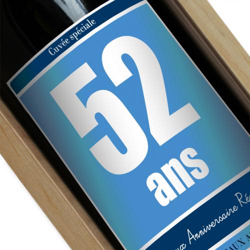 étiquette vin anniversaire personnalisée bleu