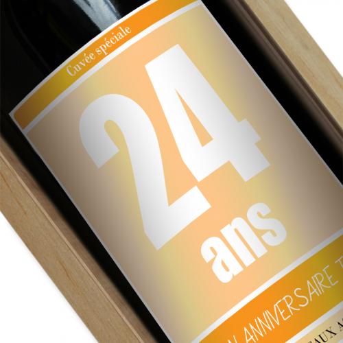 Bouteille de vin personnalisée Anniversaire jaune