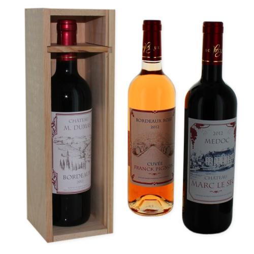 Bouteille de vin personnalisé bordeaux