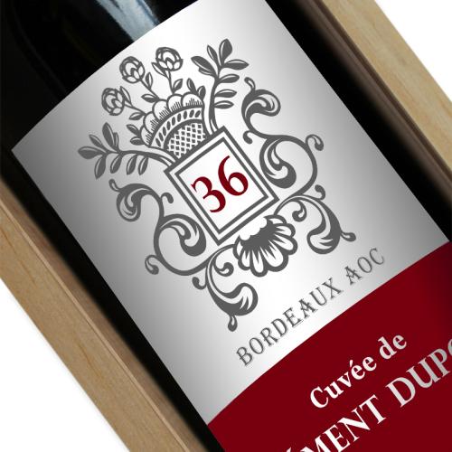 Étiquette de vin anniversaire ecusson