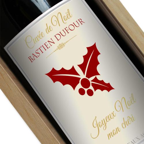 Bouteille de vin avec étiquette Noël