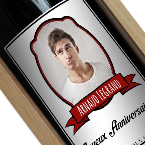 Bouteille de vin personnalisée avec un portrait