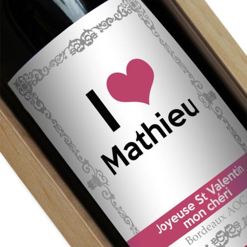 Bouteille de vin personnalisée I love