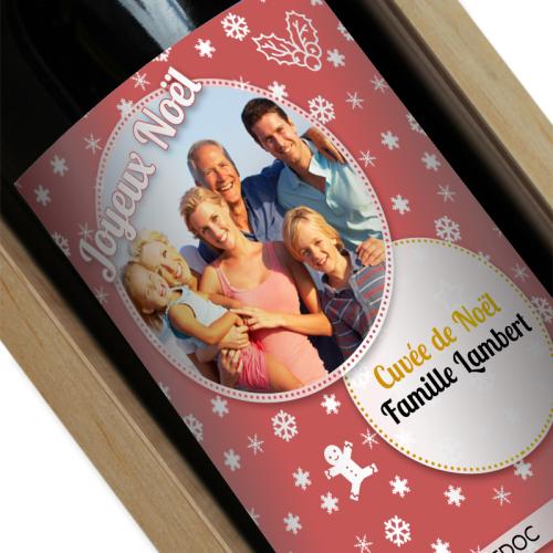 Bouteille de vin de Noel personnalisée photo