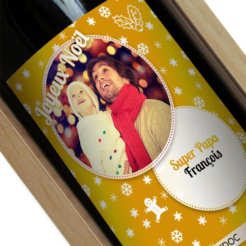 Bouteille de vin de Noel personnalisée avec une photo