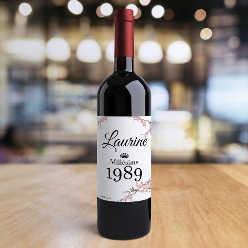 Bouteille de vin personnalisée anniversaire millésime