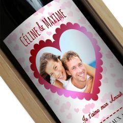 Bouteille de vin personnalisée Coeur photo