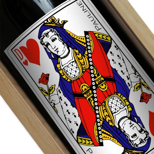 Etiquette bouteille de vin personnalisée Dame de coeur