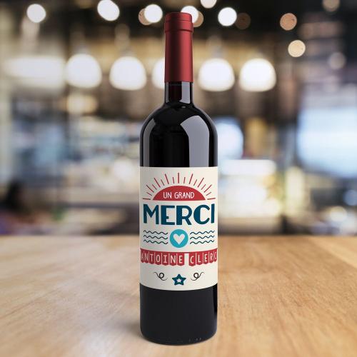 Bouteille de vin personnalisée Merci