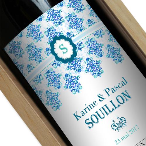 bouteille de vin personnalisée rococo bleu