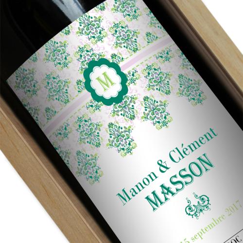 Bouteille de vin personnalisée Rococo vert