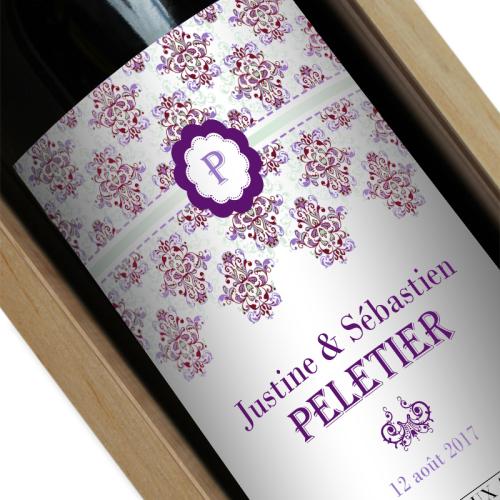 étiquette vin personnalisée rococo violet