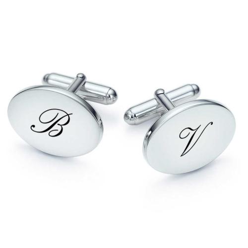 boutons de manchette ovales initiales gravées
