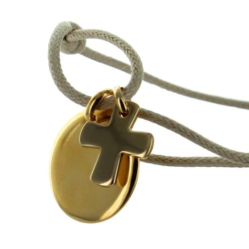 Bracelet de baptême gravé plaqué or