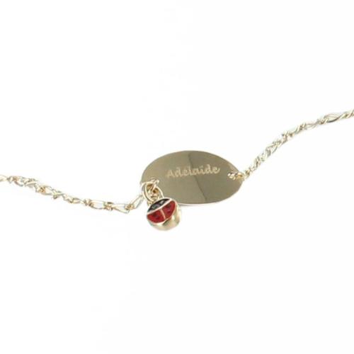Bracelet coccinelle personnalisé plaqué or