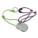 Bracelet coeur gravé cordon coloré