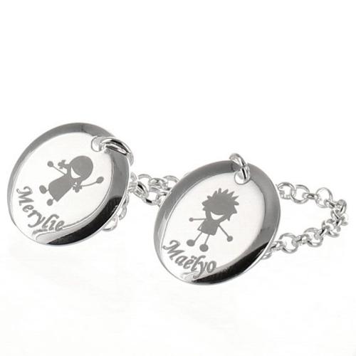 Bracelet médailles avec motif gravées