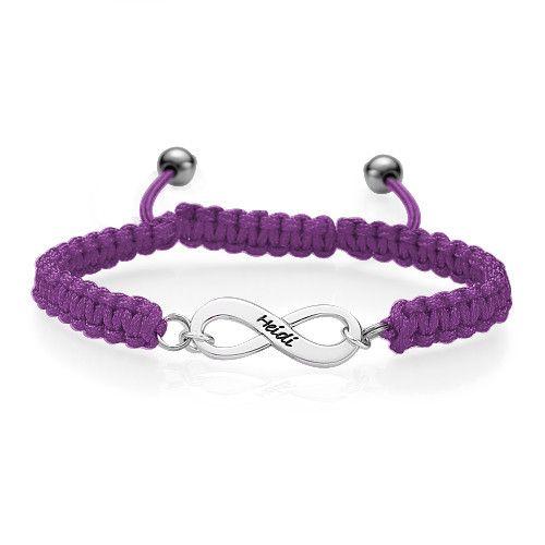 Bracelet gravé infini violet