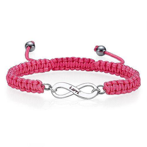 Bracelet infini gravé rose