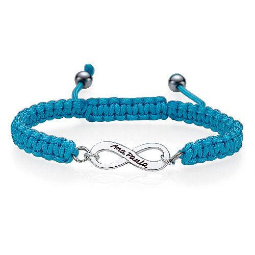 Bracelet infini personnalisé bleu
