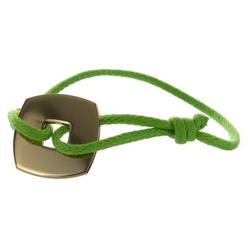 Bracelet jeton carré plaqué or