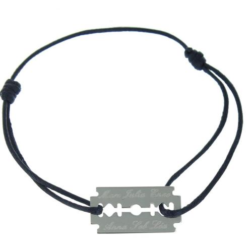 Bracelet lame de rasoir gravé
