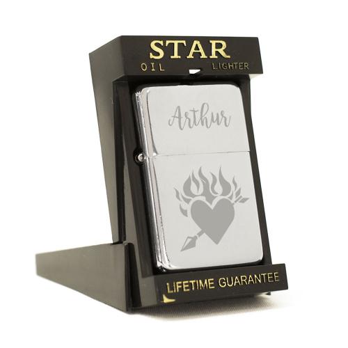 Briquet star gravé Saint Valentin
