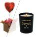 Cadeau amour  bougie et ballon coeur gonflé à l'helium