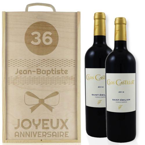Caisse à vin anniversaire deux bouteilles