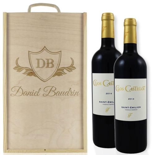 Caisse à vin personnalisée pour 2 bouteilles