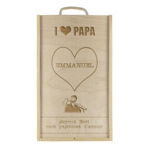 Coffret à vin 2 bouteilles I Love Papa