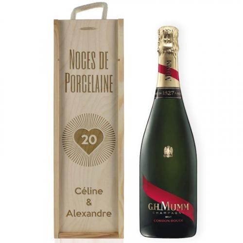 Caisse à champagne anniversaire de mariage gravée