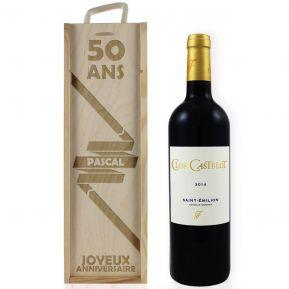 Caisse à vin anniversaire gravée