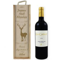 Caisse à vin de Noël gravée