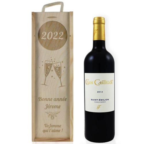 Caisse à vin nouvel an gravée