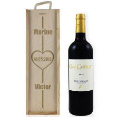Caisse à vin Saint Valentin gravée