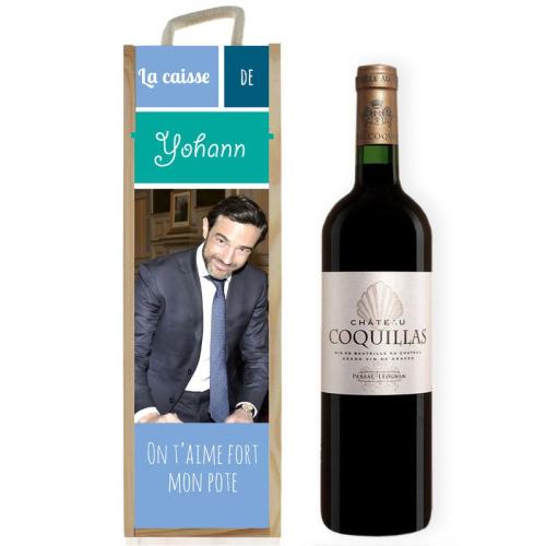 Coffret à vin sublimé photo bleu