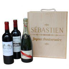 Caisse à vin 3 bouteilles gravée prénom