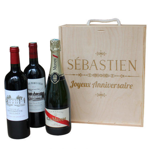 Caisse à vin 3 bouteilles gravée d'un prénom