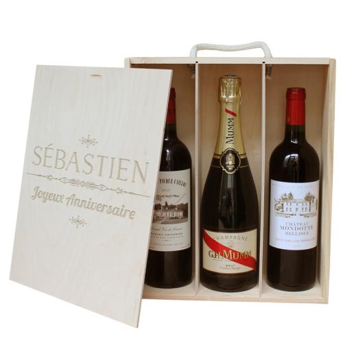 Caisse à vin 3 bouteilles prénom gravé