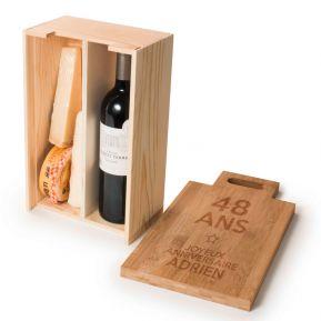 Caisse à vin planche à découper personnalisée