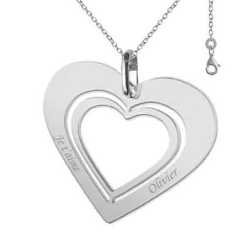 Pendentif coeur ajouré coeur et chaine