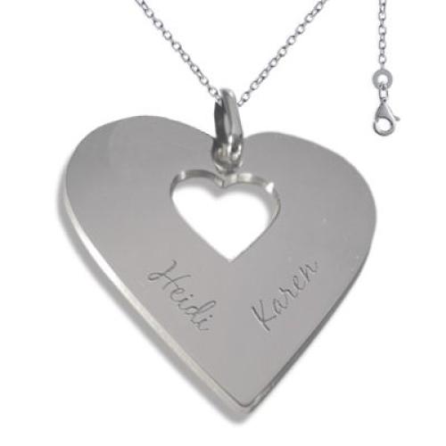 Pendentif coeur gravé avec chaine