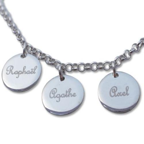 Bracelet médaille ronde sur chaine en argent massif