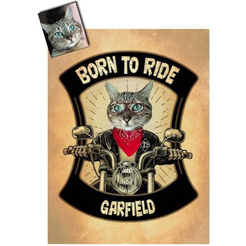 Portrait chat oeuvre d'art personnalisé Biker